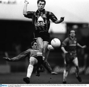 23 April 1992; Dave Tilson, Bohemians, in action against Fran Gavin, St James' Gate. FAI Cup Semi-Final Replay, Bohemians v St James' Gate, Dalymount Park, Dublin. Picture credit; David Maher / SPORTSFILE