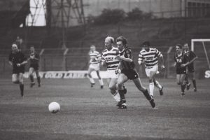Dave Tilson (Bohemians) playing against Shamrock Rovers.